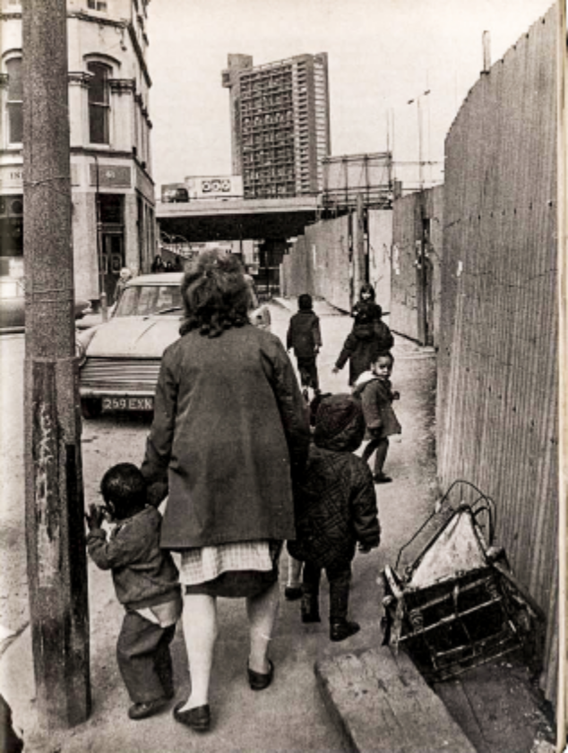A photo from the 1970s with Trellick Tower in the background